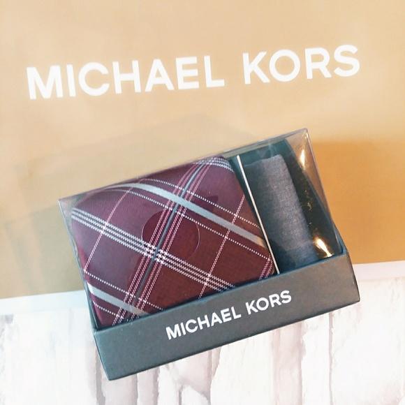 14e472dc8e11 •Michael Kors• maroon tie   grey pocket square set
